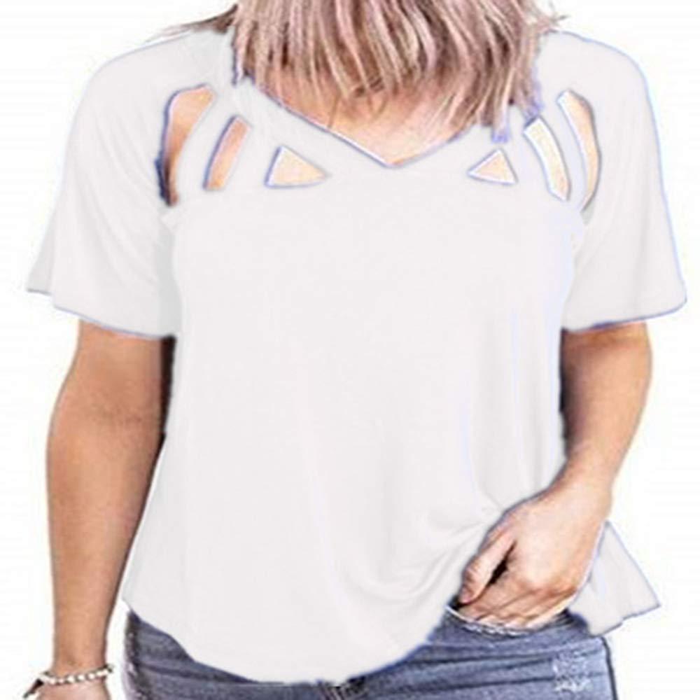 Camiseta de Primavera y Verano con Cuello en V de Manga Corta Nuevo Corte Suelto para Mujer Top Mujer: Amazon.es: Ropa y accesorios