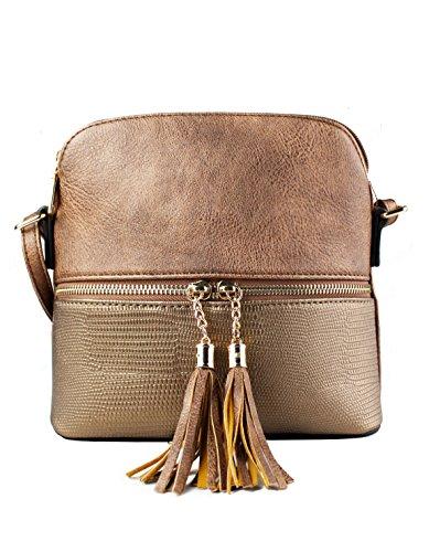 Faux Tassel Women's Sling Foxlady Snakeskin Mini Coppertone Leather Crossbody Trendy Zip Handbag 4OAqqC7Yw