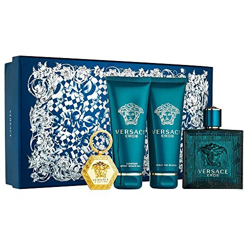Versace Eros 4 Piece GIFT SET for Men includes: 3.4 fl. oz Eau de Toilette Spray + 3.4 fl. oz Invigorating Shower Gel + 3.4 fl. oz Comfort After Shave Balm + versace Keychain