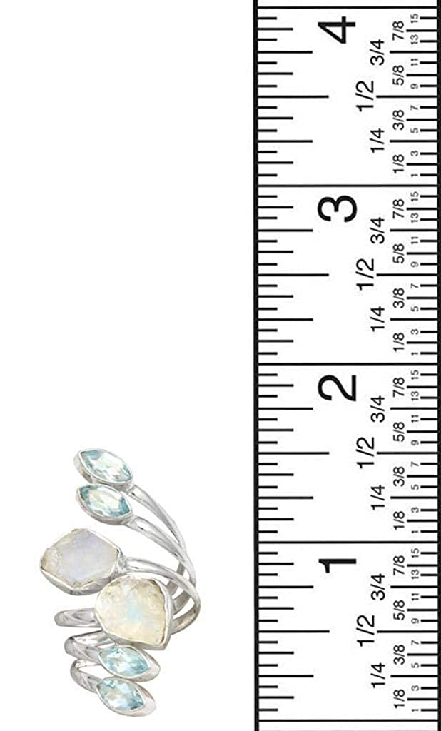 YoTreasure Rough Moonstone Blue Topaz 925 Sterling Silver Rings Silver Jewelry
