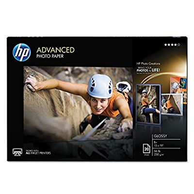 HP CR696A Advanced Photo Paper, 66 lbs., Glossy, 13 x 19, 20 Sheets/Pack