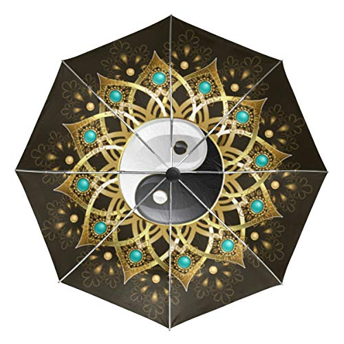 Tai Chi Yin Yang Sun&Rain Automatic Umbrella Windproof Travel UV