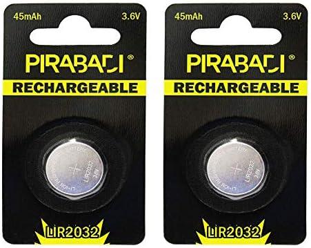 Lote de 2 Pilas de botón Recargables LIR2032 3,6 V Li-Ion Esquina ...