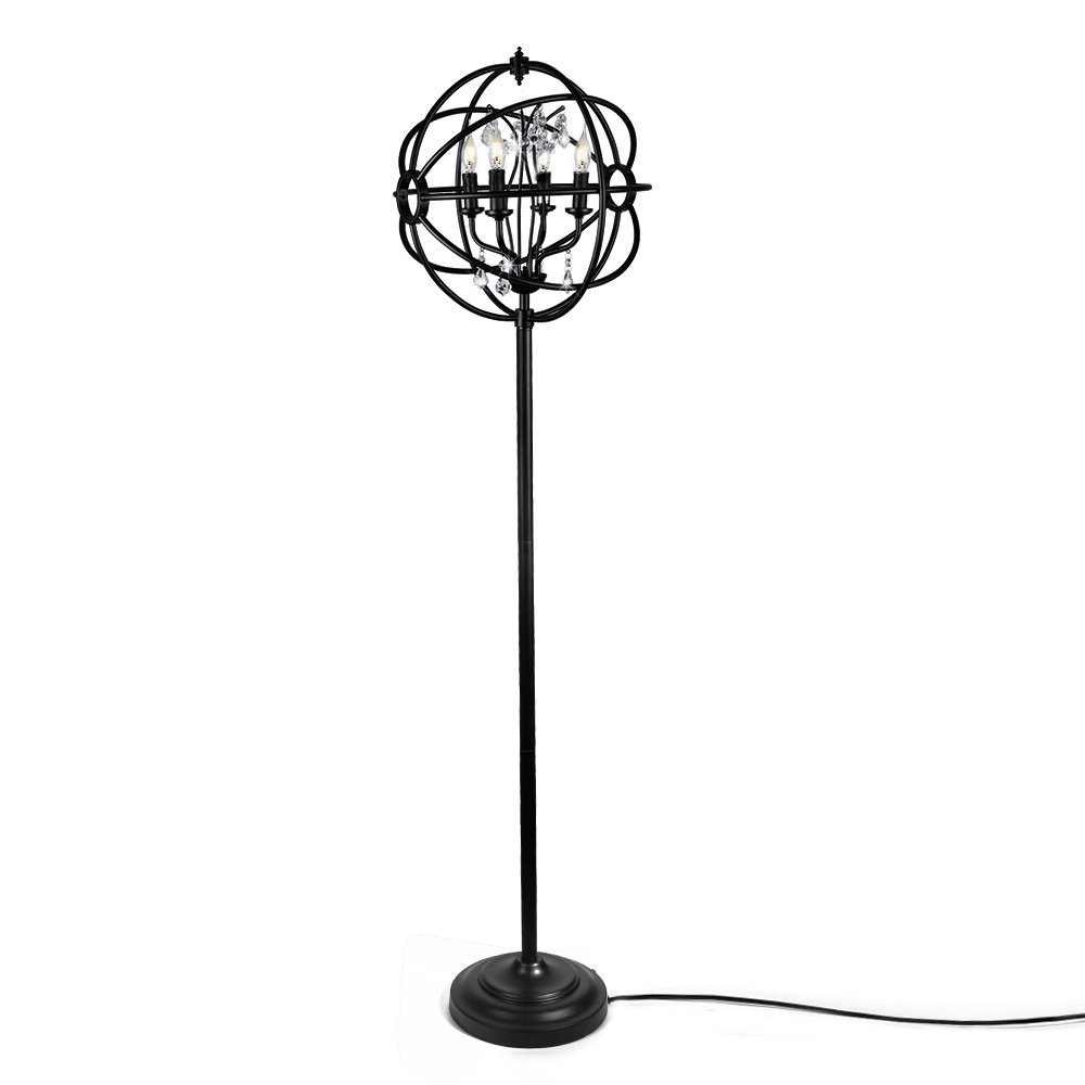 LALUZ A03132 4-Light Orb Floor Glass Reading Lamp for Living Room Bedroom