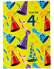 Designer Greetings Birthday Card Age 4 - You're 4 - Party Hats