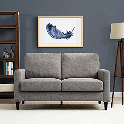 "Dorel Living Beckie Loveseat - Contemporary design Loveseat; upholstered in a soft Gray linen-look fabric Sinuous Spring foundation & pocket Coil Seat Cushions Seat dimensions: Height: 18.5"", Depth: 48.5"", width: 21.5"" - sofas-couches, living-room-furniture, living-room - 51bltjpxaaL. SS400  -"