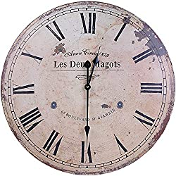 WISKALON Large Wood Wall Clock,24 Inch Roman Numerals Vintage Silent Non-Ticking Battery Operated Wall Clock,Round Quartz MovementDecorative Clock for Living/Dining/Bedroom/Kitchen/French Country