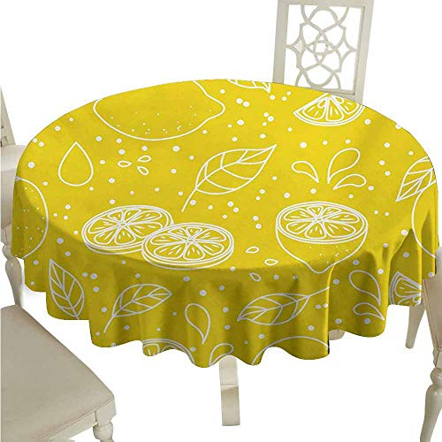 duommhome Yellow and White Waterproof Tablecloth Fresh Artistic Pattern Juicy Lemons Organic Citrus Ripe Fruit Vegetarian Easy Care D59 Yellow White