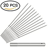 Yeeteching Kabob Skewers(Set of 20), 14'' Stainless Steel BBQ Barbecue Skewers Flat Metal Grilling Skewers Set, Reusable BBQ Sticks with Portable Storage Tube