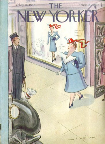 New Yorker cover Hokinson large woman in dress seen on slim mannequin 5/18 (New Yorker Dresses)