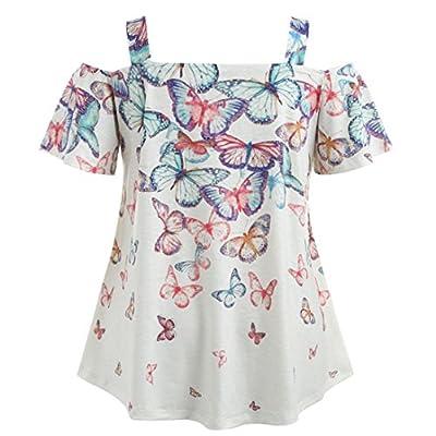 Limsea New Arrival, Women Open Shoulder Plus Size Butterfly T-Shirt Tops Blouse