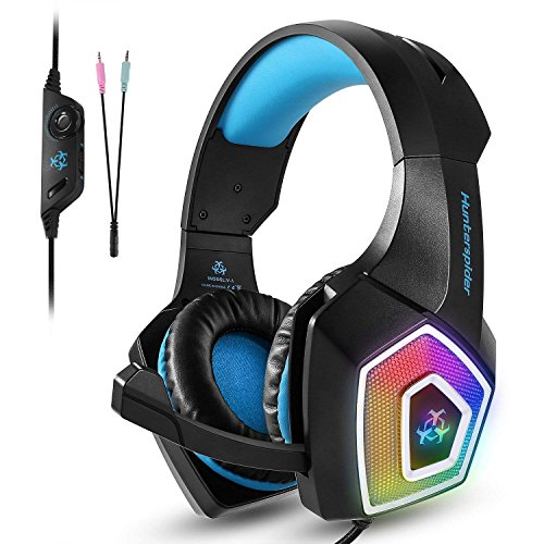 (Gaming Headset, SEPOVEDA PS4 Gaming Headset for PC, Xbox One, Noise Cancelling Over Ear Gaming Headphones with Mic, LED Light, Bass Surround, Soft Earmuffs for Laptop, Mobile and Switch (Blue))
