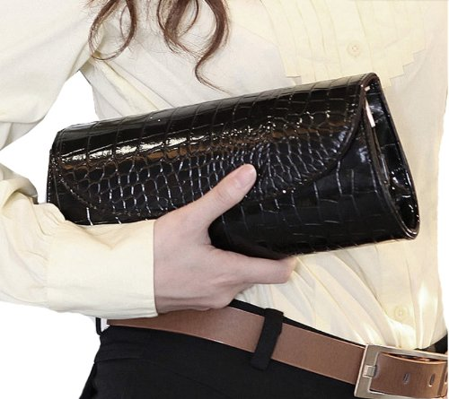 stylish hardcover look leather in designer Black clutch or envelope bag Ladies black bag new white shape Baguettes flapover Sp1q5