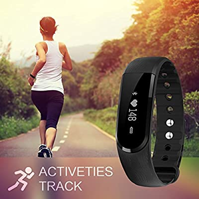Fitness Tracker HaoWorks Heart Rate Smart Wristband Bluetooth Call Reminder Remote Self-Timer Activity Tracker Calorie Counter Wireless Pedometer Sport Band Sleep Monitor for Android IOS Phone