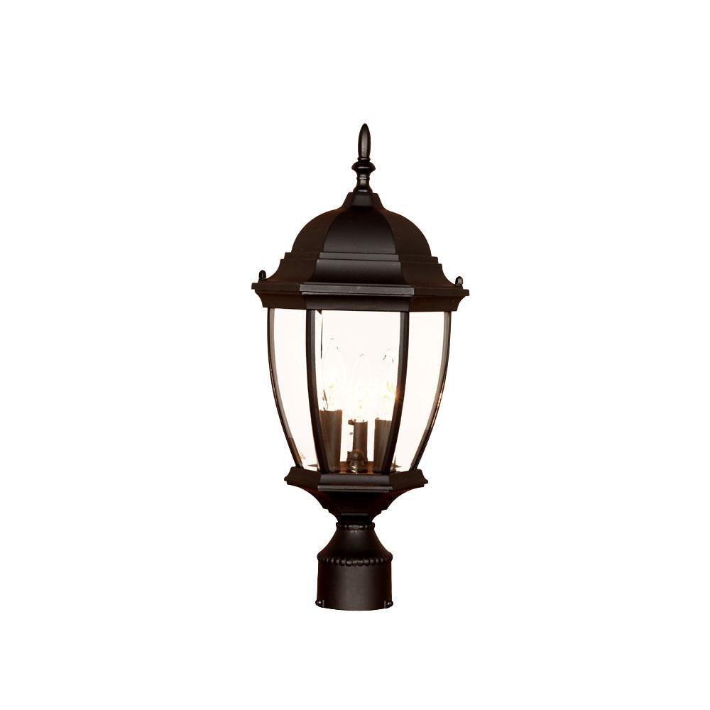 Acclaim 5017BK Wexford Collection 3-Light Post Mount Outdoor Light Fixture, Matte Black