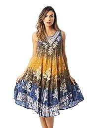 Riviera Sun Batik Marble Tie Dye Summer Dress Beach Cover up