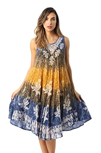 Riviera Sun Rayon Crepe Marble Sleeveless Umbrella Dress 21837-BLU-XL ()
