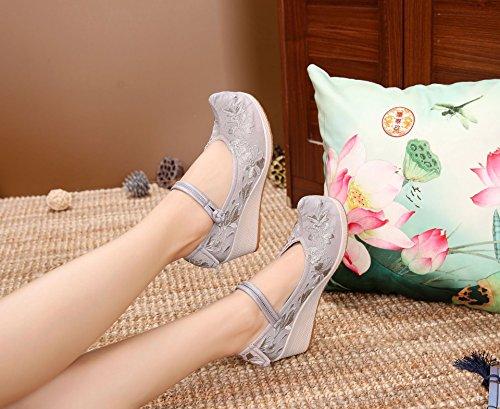 grey scarpe nuova folk da Light ricamato scarpe e scarpe cunei la scarpe in pechino donna stile vecchia KPHY Tvwp5q