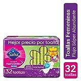 Saba Confort Manzanilla Nocturna con Alas; Toallas Femeninas para Flujo Súper Abundante; 32 Toallas