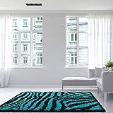 Helsinki Teal Blue Black Zebra Animal Pattern Print Fluffy Shaggy Shag Living Room Area Rug 3'7'' x 5'3''