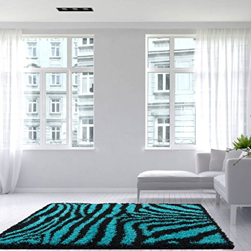 Helsinki Teal Blue Black Zebra Animal Pattern Print Fluffy Shaggy Shag Living Room Area Rug 3'7'' x 5'3'' by The Rug House