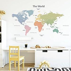 DECOWALL DLT-1809 Mapamundi Moderno Tonos Pastel Vinilo Pegatinas Decorativas Adhesiva Pared Dormitorio Salón Guardería Habitación Infantiles Niños Bebés (Extra Grande) (English Ver.)