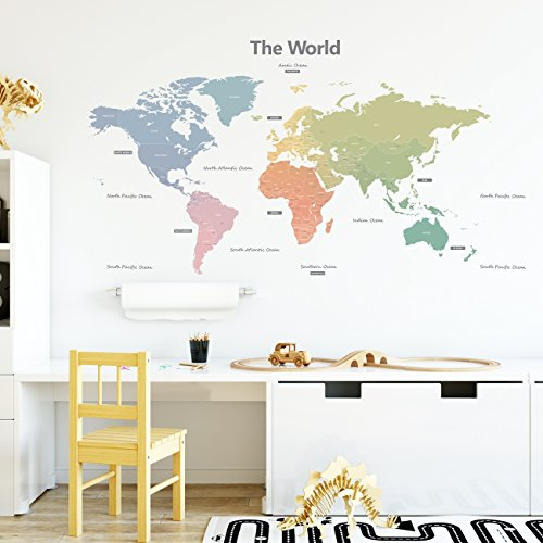 Decowall DLT-1809 Modern Pastel Tones World Map Kids Wall Stickers Wall Decals Peel and Stick Removable Wall Stickers for Kids Nursery Bedroom Living Room (Xlarge) ()