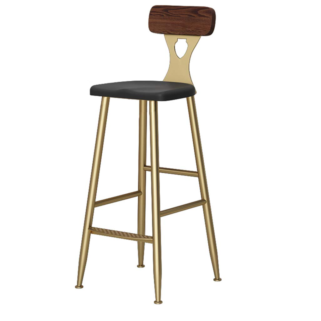 40x40x75cm Barstools Chair Footrest Industrial Barstools Chair Footrest with Brown Backrest Ergonomic Seat for Kitchen Restaurant Pub   Café Bar Counter Stool Max. Load 150 kg gold Metal Legs