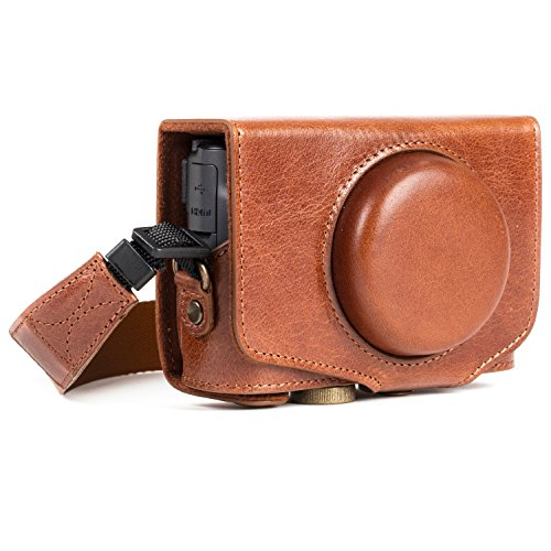 MegaGear MG1177 Canon PowerShot SX740 HS, SX730 HS Ever Ready Genuine Leather Camera Case with Strap - Dark ()