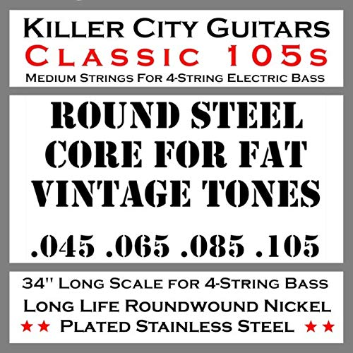 - (Sale) Classic 105 Medium Bass Strings with Solid Core for Fat Vintage Tones Coupled with Nickel Plated Steel Winding for Enhanced Brightness and Warmth