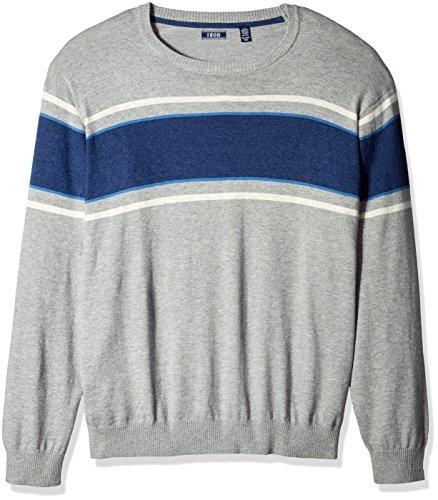 - IZOD Men's Big and Tall Durham Textured Stripe 12 Gauge Crewneck Sweater, Light Grey Heather, 4X-Large