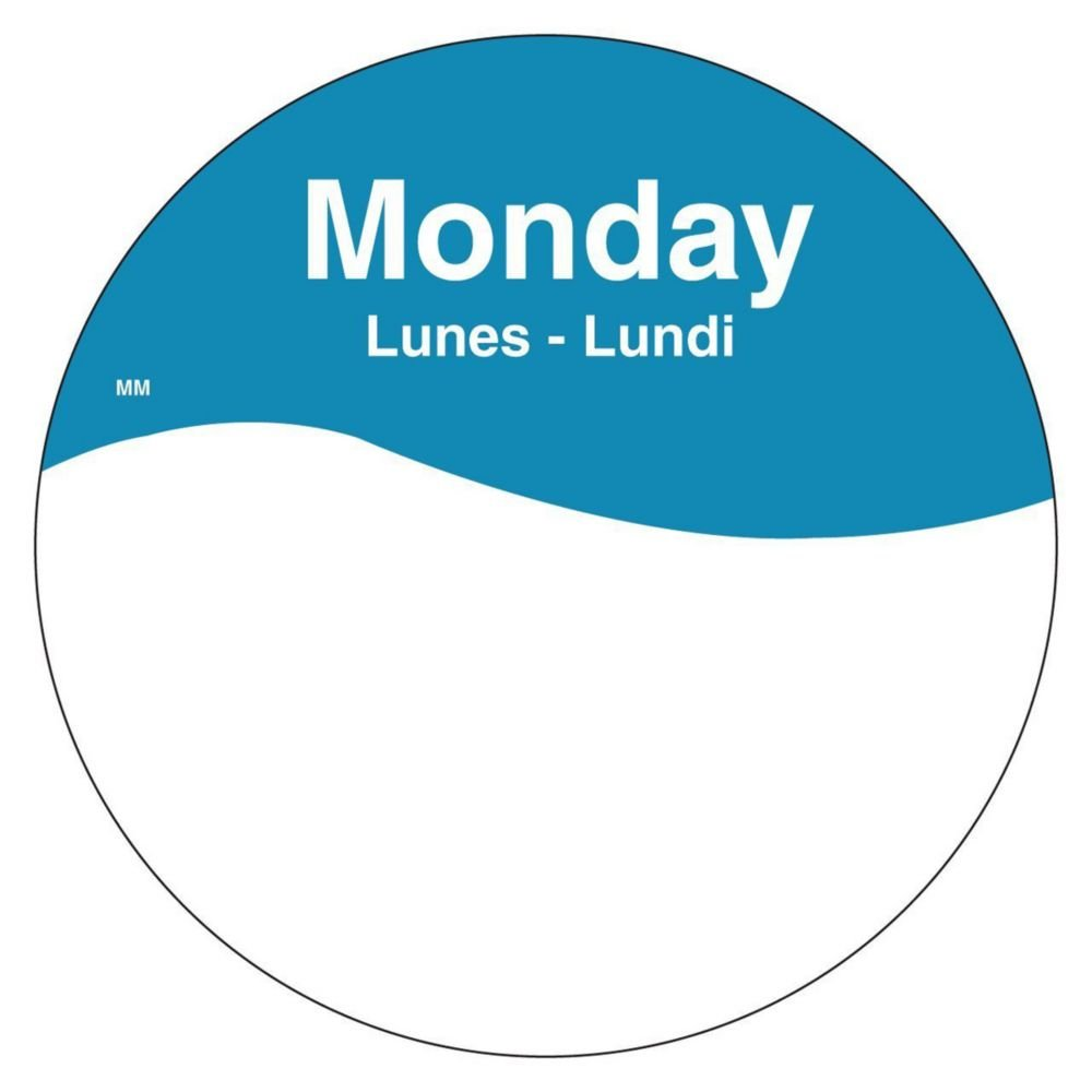 DayMark 1101081 MoveMark Trilingual 3'' Monday Day Circle - 500 / RL