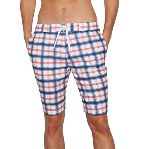 R Edition Mens Checked Boardshorts Blue Size Xl