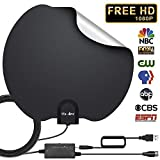 HDTV Antenna, Reversible Indoor Digital TV Antennas Amplified 60-90 Miles Range with Smart Amplifier Signal Booster, 1080P 4K VHF UHF for Local Freeview Channels for All TV's- 16.5ft Coaxial Cable
