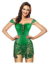 Kimring Women's Steampunk Gothic Faux Leather Bustier Corset with Lace Skirt