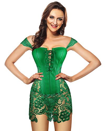 Kimring Women's Steampunk Gothic Sexy Faux Leather Shoulder Strap Bustier Corset with Lace Skirt Green X-Large ()