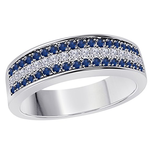 Silver Gems Factory 6MM 14K White Gold Plated 0.50CT Blue Sapphire & White Cz Diamond Ring 3 Row Pave Half Eternity Men