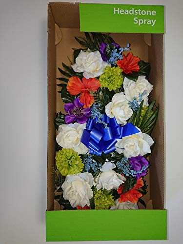 Funeral Spray - White, Purple, Green, Orange, Blue Memorial Headstone Spray Beautiful Artificial Flowers Roses Daffodils Ribbons for cemetary plots, religious shrine, grave decoration, funeral services - 28