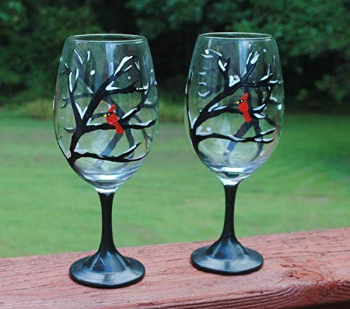 2 Winter Snowy Tree Red Cardinal Wine Glasses Set