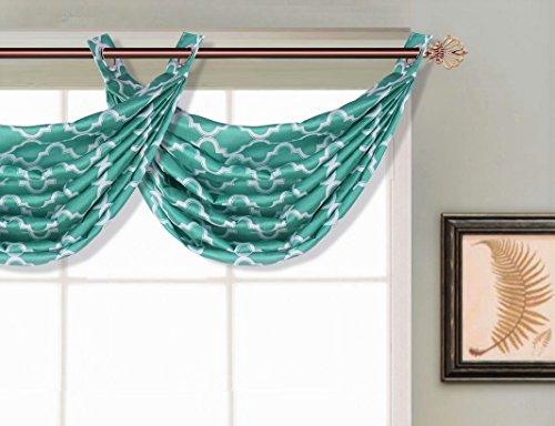 (GorgeousHomeLinen (V23) 1 Ascot Faux Silk Grommet Elegant Waterfall Window Small Valance Geometric Design, 55