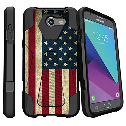 - MINITURTLE Case Compatible with Galaxy J3 Emerge | J3 Prime | J3 Eclipse | Galaxy Luna Pro Shock Hybrid Case [Shock Fusion] Hard Shell - Built In Stand American Flag USA