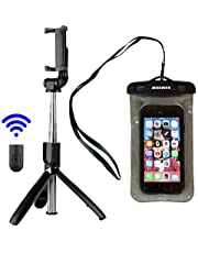Selfie Stick Tripod with Wireless Bluetooth Remote. Includes Bonus Waterproof Case. Selfie Stick for iPhone Xs/XS Max/XR/X/8/8 Plus/7/7 Plus/6/6s/SE, Samsung Galaxy S9/S8/S7 Google Pixel and More.