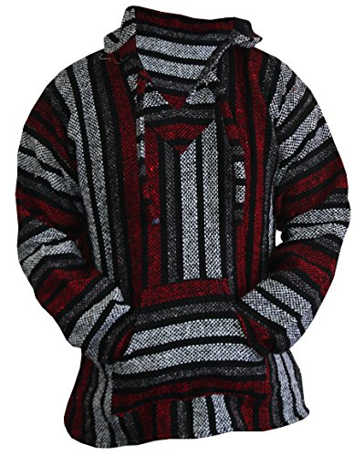 (Mexican Baja Hoodie Sweater Jerga Pullover Red Gray Unisex (Medium))