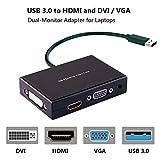 USB 3.0 to HDMI-VGA-DVI Monitor External Video Card Adapter,Rongyuxuan Monitor Outputs HDMI DVI-D and VGA,Support Via 3.5mm Stereo Mini-jack Full HD1920x1080p(Black)