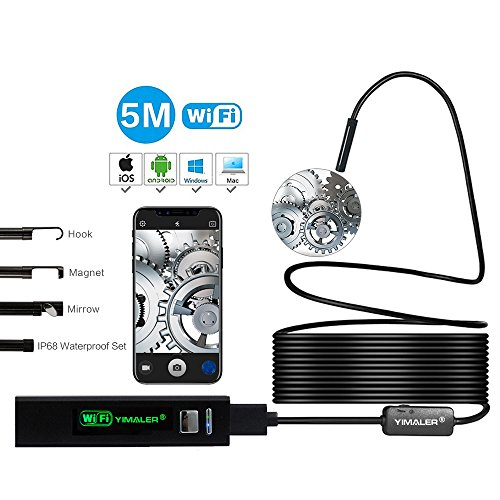 Yimaler 16.5FT Wireless Endoscope WIFI Borescope Inspection IP68 Waterproof 1200P HD Camera Semi-rigid Snake Cable for IOS Android smart phone iphone Windows PC MAC-Black