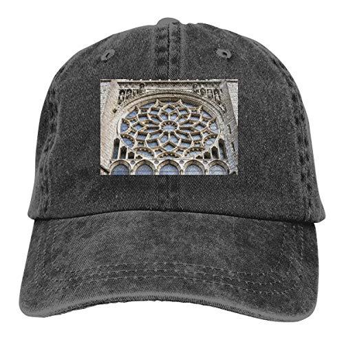 Denim Adjustable Snapback Hats Chartres Cathedral Washed Denim Hat Men's Dad Baseball Caps,Black