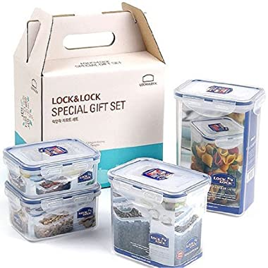 Lock&Lock BPA Free Food Containers 4 Containers Set with Leak Proof Locking Lid