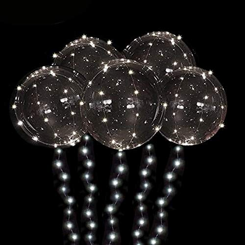 DANIDEER Led BoBo Balloons Warm White/Pink/Blue, 18 Inch 5 PCS Transparent Helium Balloons with String Lights, LED Light Balloons for Christmas, Birthday, Wedding and Party Decoration (Warm White)