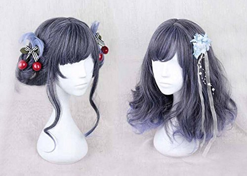 Sweat Lolita Christmas Mint Deep Blue Color T Light Blue Color Ombre Wig Dark Root Short Straight Full Hair Natural Party Daily Hair With Wig - Mall Auburn In Stores