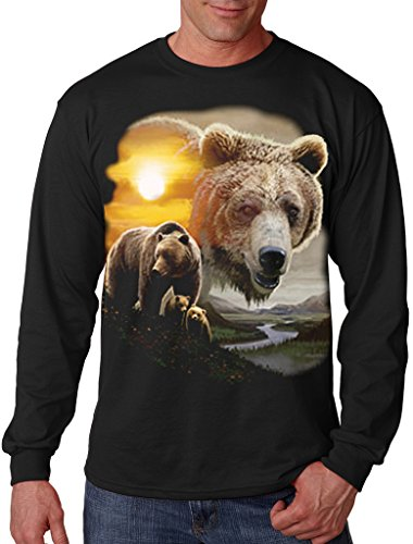 Interstate Apparel Men's American Grizzly Bear Sun Black Long Sleeve T-Shirt Medium Black (Sleeve Long Grizzlies)